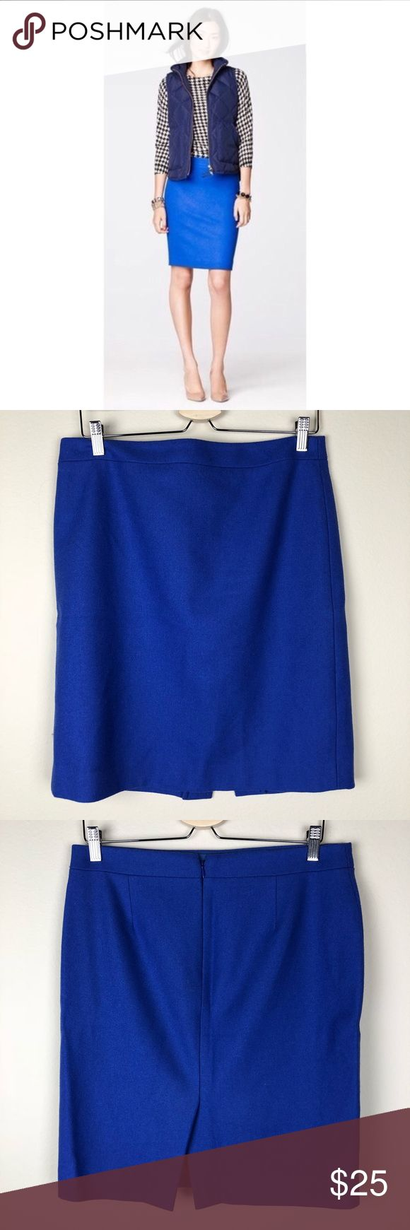 """J. Crew   Blue Wool Pencil Skirt 10 The perfect Pencil Skirt from J. Crew factory in a in bright blue!  Material: Wool/viscose  Size: 10  Condition: New without tags. I took off the tags when I bought it but this has been sitting unworn in my closet for far too long! Excellent condition, no flaws  Measurements: ▪️Waist: 16"""" laid flat, straight across ▪️Length: 21"""" J. Crew Factory Skirts Pencil"""