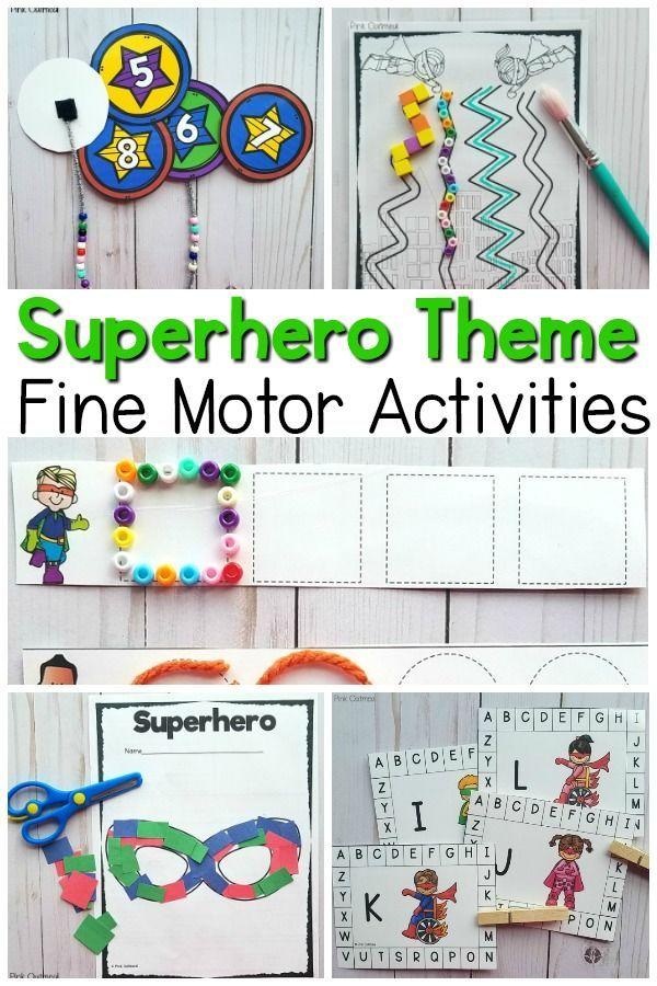 Superhero Themed Fine Motor Activities Preschool Fine Motor Fine Motor Activities Camping Theme Preschool