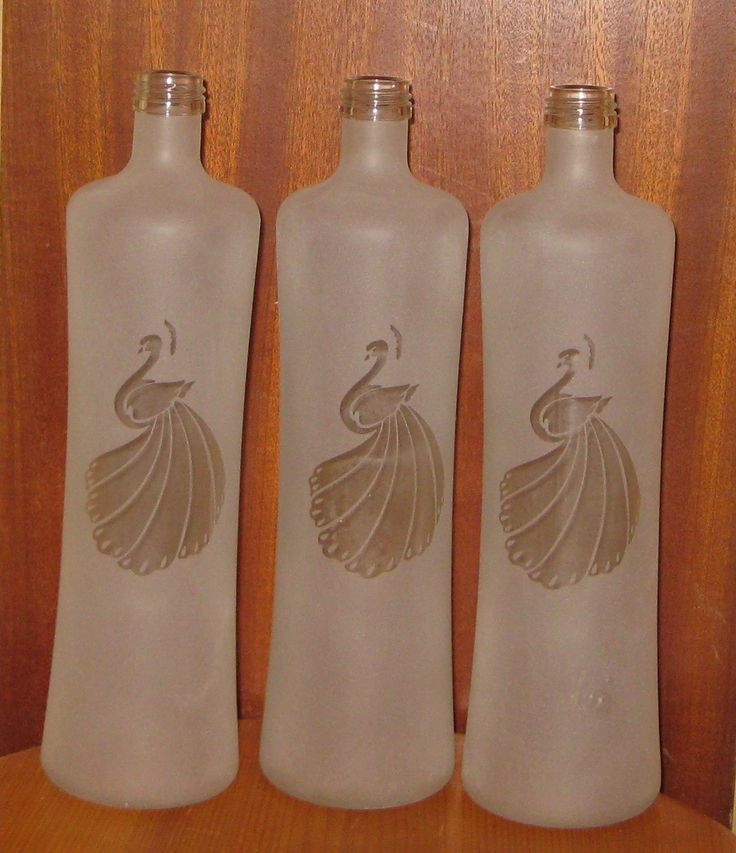 Sandblasted glass bottle