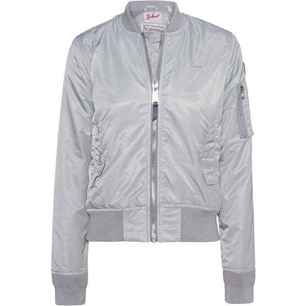 Schott NYC Bomber Silver Grey // Bomber jacket ($245) ❤ liked on Polyvore featuring outerwear, jackets, slim fit bomber jacket, blouson jacket, schott nyc jackets, stand up collar jacket and embroidered bomber jackets
