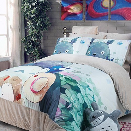 Amazon.com - MeMoreCool Home Textile Japanese Miyazaki Hayao Animation My Neighbor Totoro Cartoon Kids Students 4 Piece Bedding Set Thick Totoro Quilt Cover Short Plush Velvet Warm Bed Sheets Queen Size -