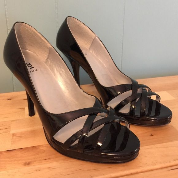 Black patent high heels open toe Bakers 8.5 Worms a fews times and in good shape. trades Bakers Shoes Heels