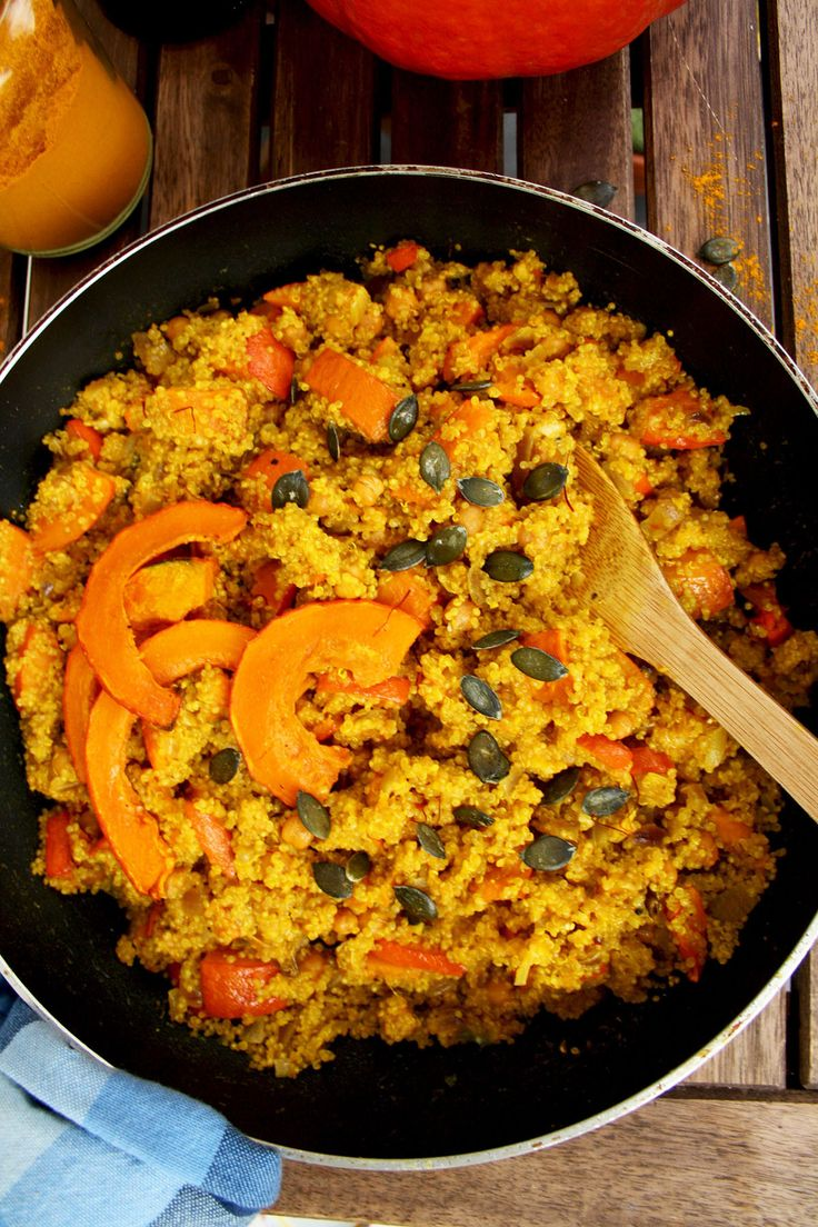 Vegan Pumpkin Quinoa Risotto (Quinotto) with Chick Peas and Saffron ...