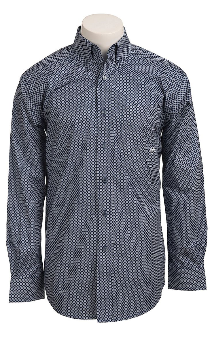 Ariat® Men's Long Sleeve Baker Boston Blue Print Western Shirt 10011399