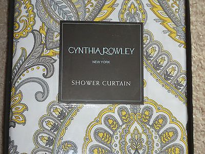 Cynthia Rowley Yellow Gray White Paisley Damask Shower Curtain NEW Black