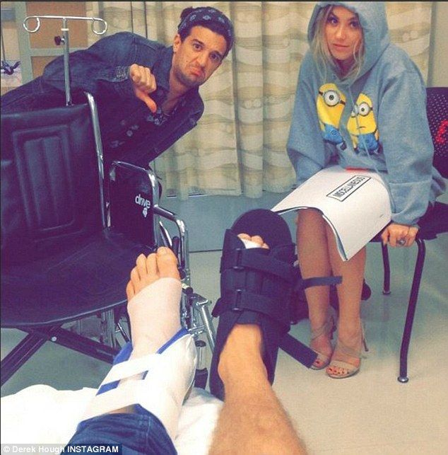 Helpful: Mark has been helping BFF and fellow dance pro Derek Hough recover after his foot injuries