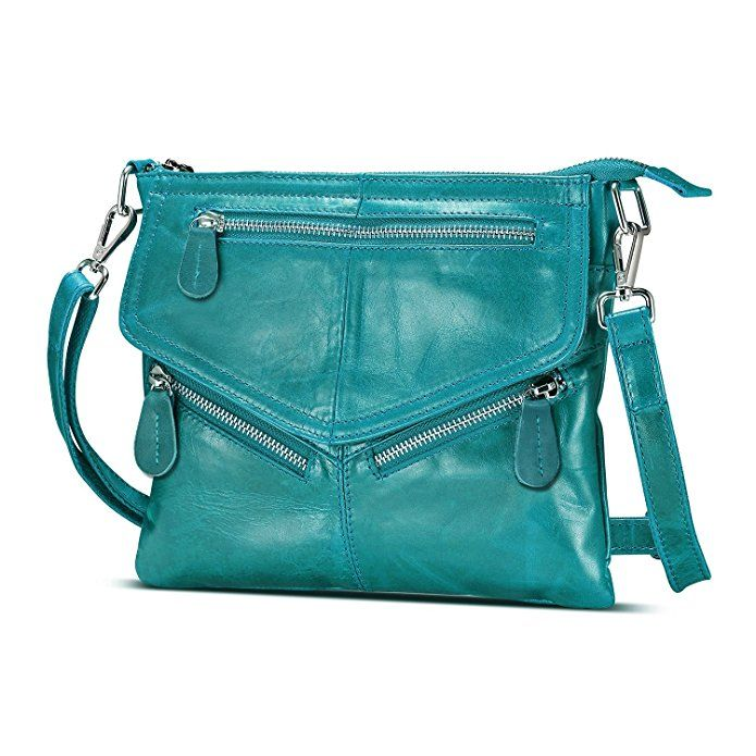 Lecxci Women's Small Soft Leather Travel Purses, Zipper Cross body Bags Shoulder Purses for Women (Teal)