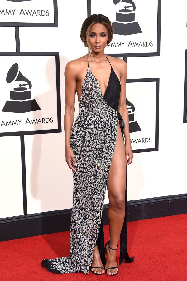 Ciara in mixed prints at the 2016 Grammys