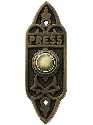 """Press Doorbell Button. Edwardian """"Press"""" Doorbell Button In Antique Brass"""