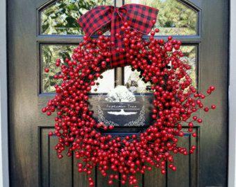 Vánoční věnec - Berry věnec - Dovolená věnec - přední dveře věnec - Vítejte věnec - věnce - Berry - Dovolená Decor - Vánoce Decor