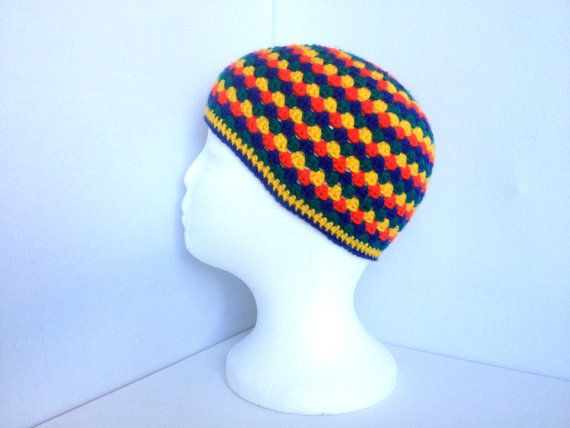 Kids Crochet Hat Rainbow Beanie Ages 4 to 8 by ScruffyDucksCrochet, £20.00