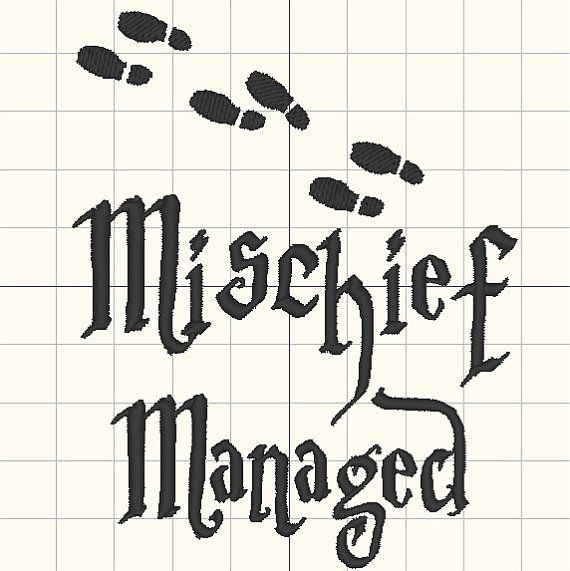 Mischief Managed Embroidery design pattern 4 x 4 by MTcoffins