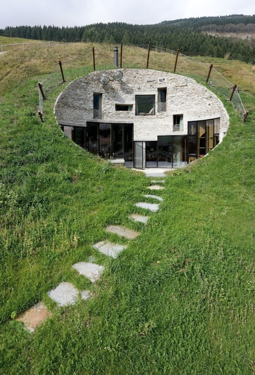 This unique home called Villa Vals was built directly into the hillside in Vals, Switzerland.