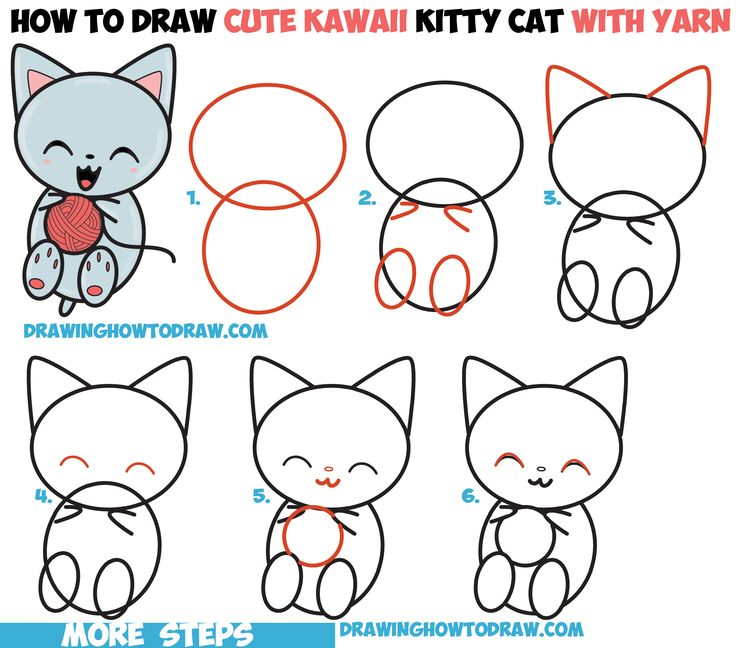 how to draw cute kawaii kitten cat playing with yarn easy step by step drawing - Drawing For Small Kids