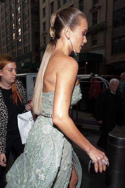 Hannah Davis is seen departing the Mandarin Oriental hotel on May 2, 2016 in New York City.