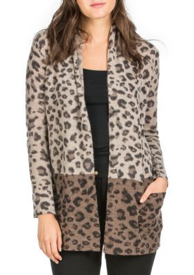 Premise Cashmere Brown Combination Cashmere Printed Open Cardigan