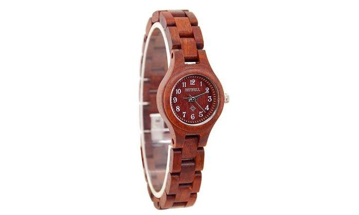 Red Luxury Brand Wood Slim Analog Digital Watch Women