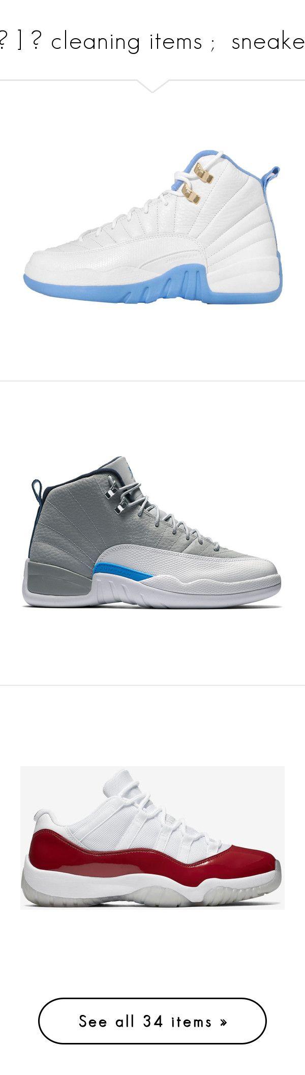 """""""[ 💌 ] 一 cleaning items ;  sneakers"""" by t0xicwifi ❤ liked on Polyvore featuring shoes, sneakers, jordans, jordan 12, jordan 11, concord sneakers, black white sneakers, white and black sneakers, low sneakers and black white shoes"""