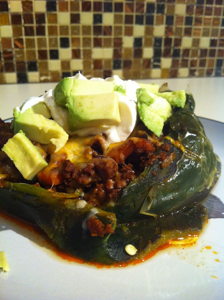 stuffed pablano peppers with ground turkey.