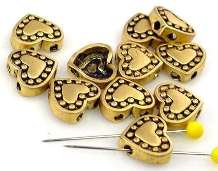 10 slider cast metal beads 2 hole beads 8048-N7