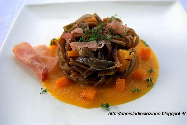Daniela&Diocleziano: Tagliatelline al tartufo con funghi , zucca e bresaola di suino