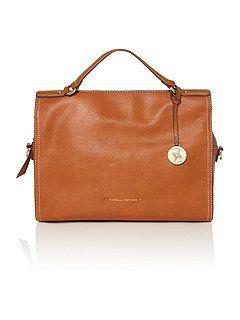 Kristen tan zip satchel bag