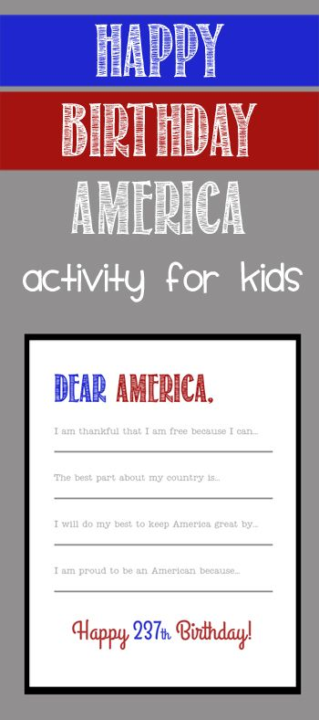 Happy Birthday America - a fun activity for kids on the 4th of July