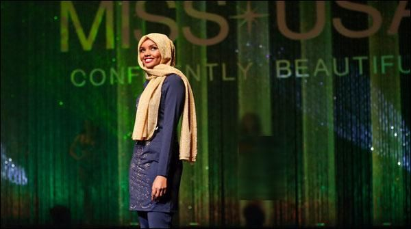 As a 19-year-old Halima Eden first bahjab woman from Somalia to the United States are taking part in the pageant Mini Minnesota contest co-Hassan other 44 women compared Halima will be featured in full-screen, which only her face the show will also have his head covered with a scarf
