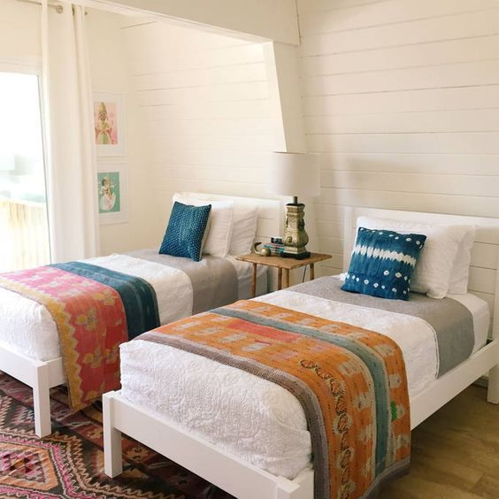 Shiplap walls bedroom - love the vintage kantha quilts eclecticallyvintage.com