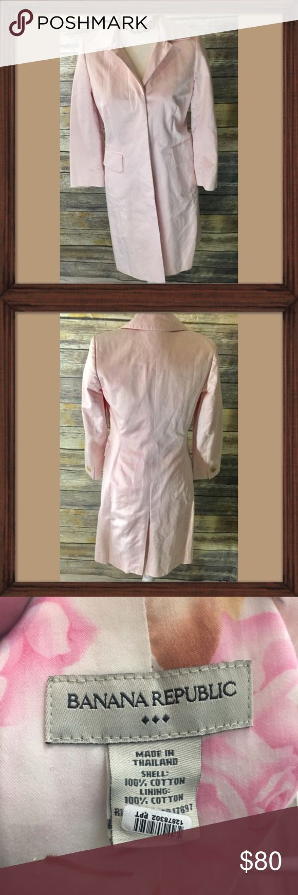 Banana Republic Light Pink Long Trench coat Light pink long trench coat. Size 2 please See measurements. Gorgeous rose lining. In excellent used condition. 36 inches long. Time traveler coat 😍😉. 21 inch sleeves. 16 inches arm pit to arm pit Banana Republic Jackets & Coats Trench Coats