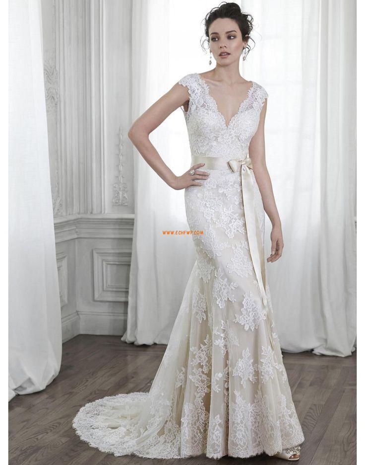 Výstřih do V Elegantní & moderní Krajka Levné svatební šaty