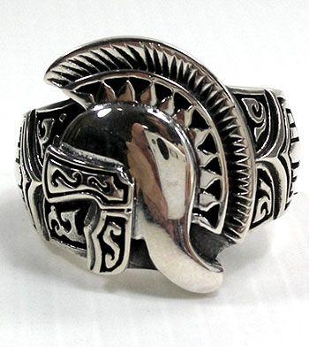 Knight Roman Warrior Helmet Ring. Solid 925 silver warrior helmet mens rings.