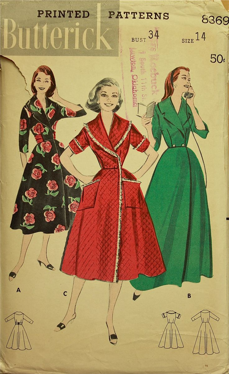 """1950s  Robe, Housecoat  and Brunch Coat Butterick Pattern 8369  Size 14  Bust 34"""""""