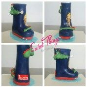 Rubber boot cake, personalized with the Paper bag Princess characters - sweetthingsbywendy.ca