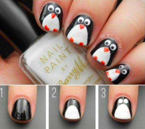 NAIL ART PINGOUIN EN 6 ÉTAPES