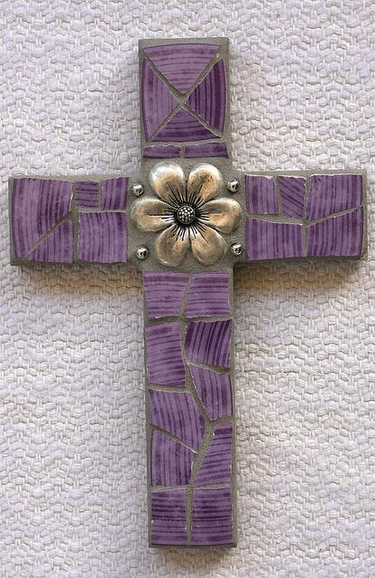 "6 x 9"" mosaic cross using broken purple plate and jewelry - SOLD"