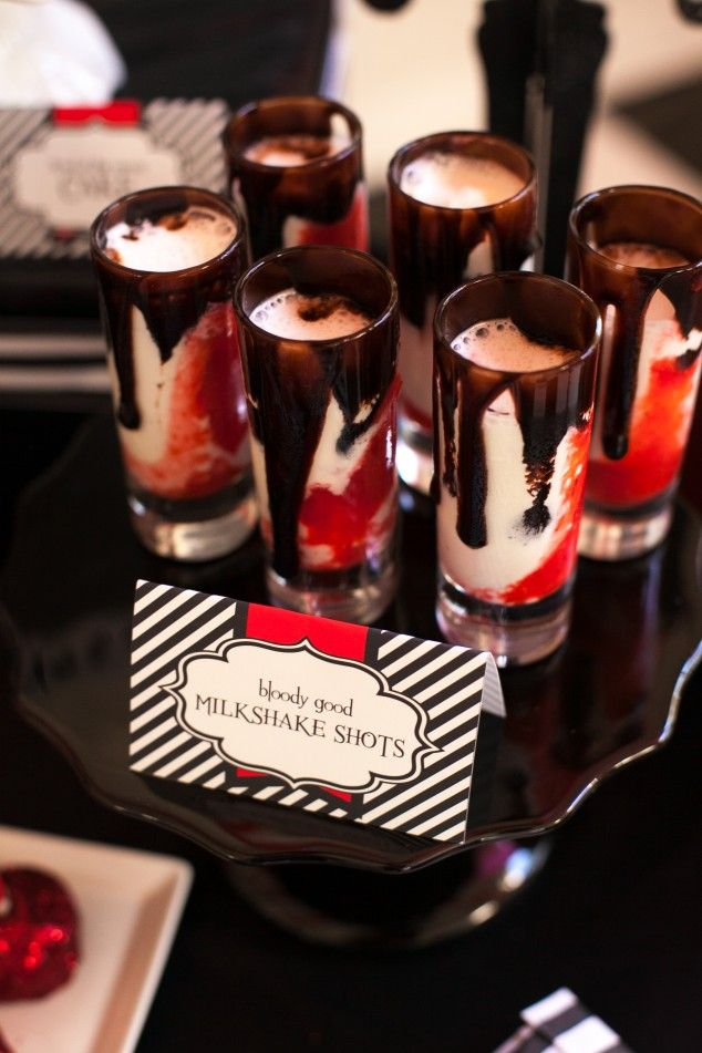 This Halloween, have these bloody milkshake shots that will make you bloodthirsty.