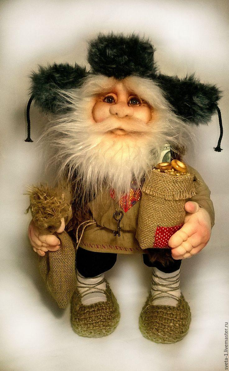 Купить ДОМОВОЙ - коричневый, домовой оберег, оберег для дома, семейный очаг, интерьерная кукла, капрон