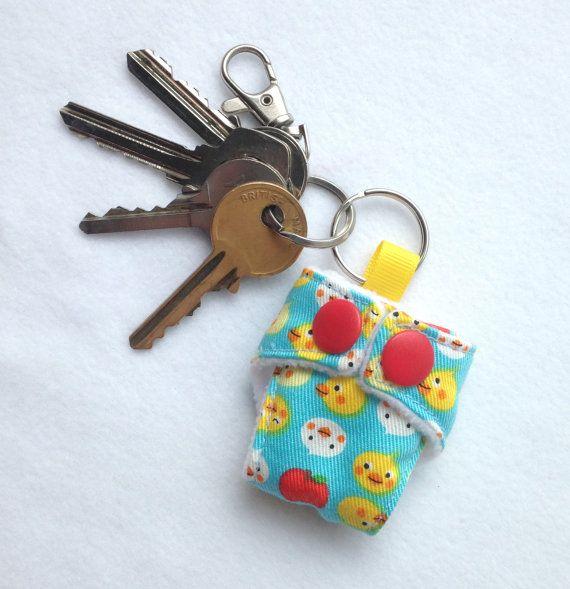 Cloth Nappy Diaper Mini Keychain Keyring by GirlsGotFabric on Etsy