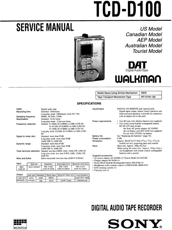 Sony TCD-D100 DAT , Original Service Manual PDF format suitable for Windows XP, Vista, 7 DOWNLOAD