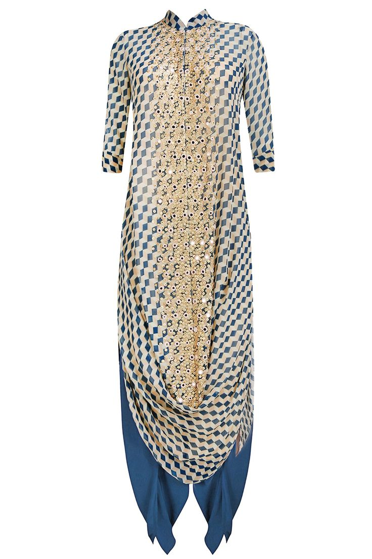 Madsam Tinzin presents Moroccan green mirror work ice cube print drape kurta set available only at Pernia's Pop Up Shop.
