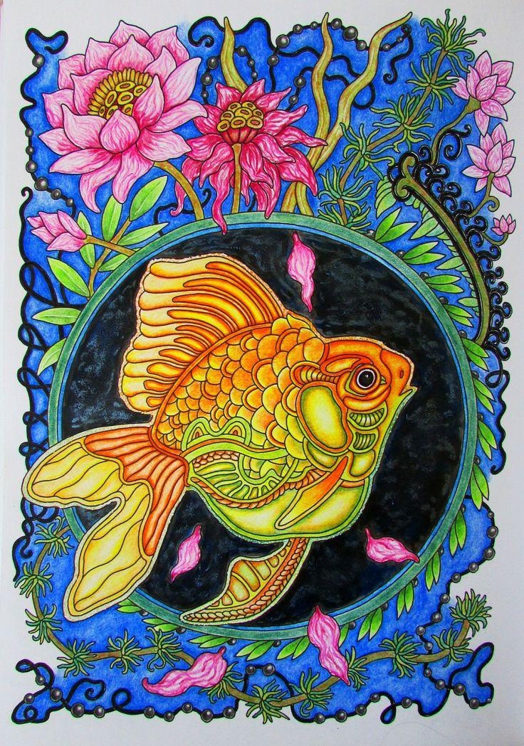 """Антистресс раскраски для взрослых. Арт-терапия. Ольга Головешкина """"Ветер уносит цветы"""". Моя золотая рыбка"""