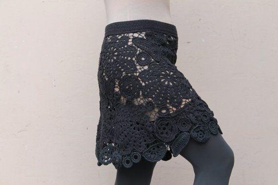 Hand gebreide vrouwen rok Ierse kant gray door MsDeborahKnitter