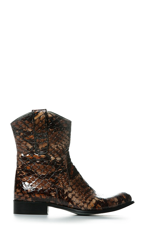 Boot Short Flat Snake Dark by Colette Sol