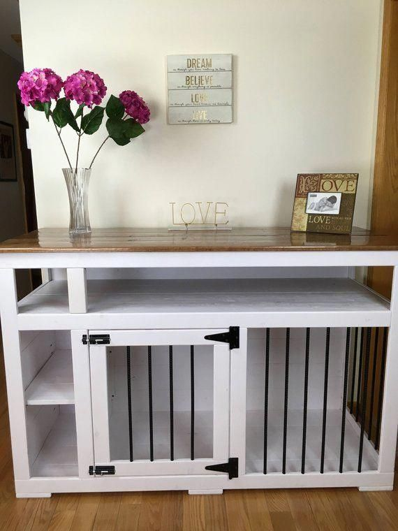 Dog Crate Table Surround Nice Hack Idea To Make The Crate Blend In Nicely Dogcrate Dogcratetable Dogfurni Diy Dog Crate Dog Crate Furniture Diy Dog Stuff