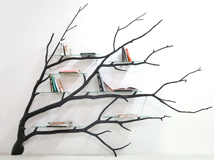 """Bilbao (Treet Shelf),"" native wood, stainless steel, and glass, 150""x50""x30"""