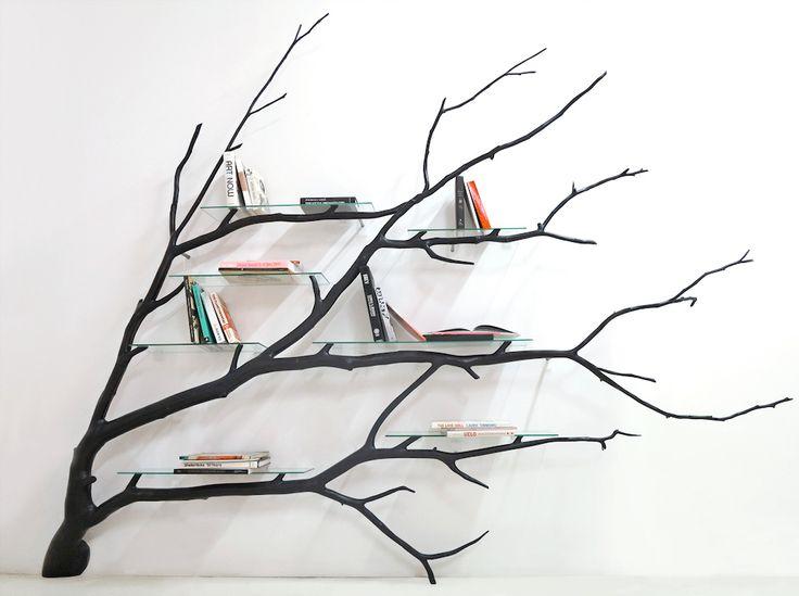 "Tree houses for books seem to be a new thing. ""Bilbao (Tree Shelf),"" by Chilean artist and designer Sebastian Errazuriz."