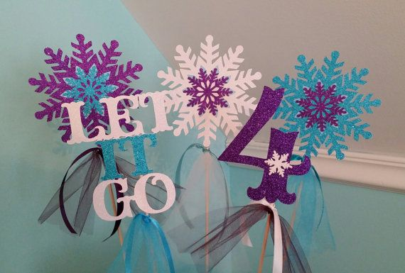 5 PC Frozen snowflake Centerpiece purple by BNGCraftyCreations