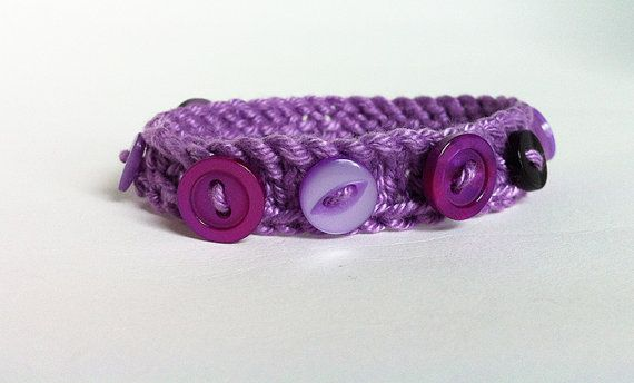 Purple Merry Go Round Knitted Button Bracelet  PDF by Scrumbobbly