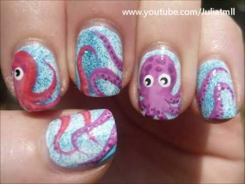 Cute octopus nail tutorial on YouTube